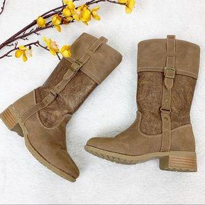 RACHEL | 11 Girls Buckle Riding Boots Tan Yuma